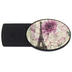 Purple Floral Vintage Paris Eiffel Tower Art 2gb Usb Flash Drive (oval) by chicelegantboutique