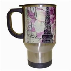 Purple Floral Vintage Paris Eiffel Tower Art Travel Mug (white) by chicelegantboutique