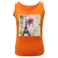 Purple Floral Vintage Paris Eiffel Tower Art Womens  Tank Top (dark Colored) by chicelegantboutique