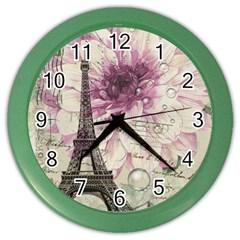 Purple Floral Vintage Paris Eiffel Tower Art Wall Clock (color) by chicelegantboutique
