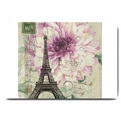 Purple Floral Vintage Paris Eiffel Tower Art Large Door Mat by chicelegantboutique