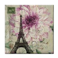 Purple Floral Vintage Paris Eiffel Tower Art Face Towel by chicelegantboutique