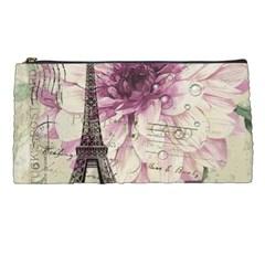 Purple Floral Vintage Paris Eiffel Tower Art Pencil Case by chicelegantboutique