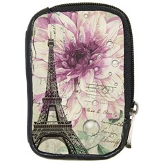 Purple Floral Vintage Paris Eiffel Tower Art Compact Camera Leather Case by chicelegantboutique