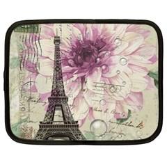 Purple Floral Vintage Paris Eiffel Tower Art Netbook Case (xl) by chicelegantboutique
