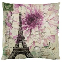 Purple Floral Vintage Paris Eiffel Tower Art Large Cushion Case (two Sided)  by chicelegantboutique