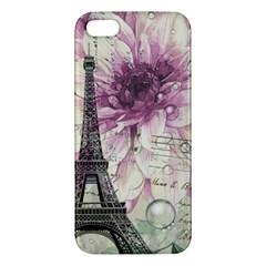 Purple Floral Vintage Paris Eiffel Tower Art Iphone 5s Premium Hardshell Case by chicelegantboutique