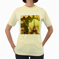 Floral Eiffel Tower Vintage French Paris  Womens  T Shirt (yellow) by chicelegantboutique