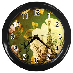 Floral Eiffel Tower Vintage French Paris Wall Clock (black) by chicelegantboutique