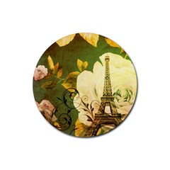 Floral Eiffel Tower Vintage French Paris Drink Coaster (round) by chicelegantboutique