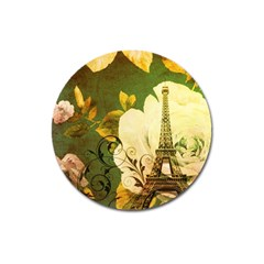 Floral Eiffel Tower Vintage French Paris Magnet 3  (round) by chicelegantboutique