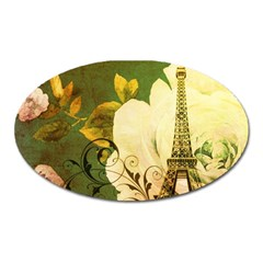 Floral Eiffel Tower Vintage French Paris Magnet (oval) by chicelegantboutique