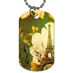 Floral Eiffel Tower Vintage French Paris Dog Tag (two Sided)  by chicelegantboutique