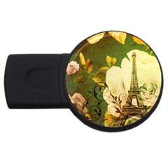 Floral Eiffel Tower Vintage French Paris 2gb Usb Flash Drive (round) by chicelegantboutique