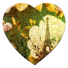 Floral Eiffel Tower Vintage French Paris Jigsaw Puzzle (heart) by chicelegantboutique