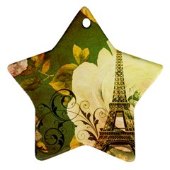 Floral Eiffel Tower Vintage French Paris Star Ornament (two Sides) by chicelegantboutique