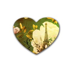 Floral Eiffel Tower Vintage French Paris Drink Coasters (heart) by chicelegantboutique