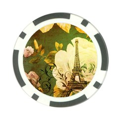 Floral Eiffel Tower Vintage French Paris Poker Chip by chicelegantboutique
