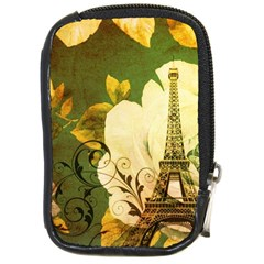 Floral Eiffel Tower Vintage French Paris Compact Camera Leather Case