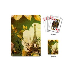 Floral Eiffel Tower Vintage French Paris Playing Cards (mini) by chicelegantboutique