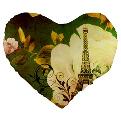 Floral Eiffel Tower Vintage French Paris 19  Premium Heart Shape Cushion by chicelegantboutique