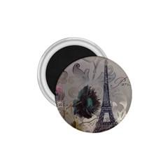 Floral Vintage Paris Eiffel Tower Art 1 75  Button Magnet by chicelegantboutique