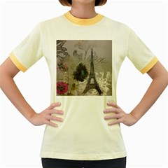 Floral Vintage Paris Eiffel Tower Art Womens  Ringer T Shirt (colored) by chicelegantboutique