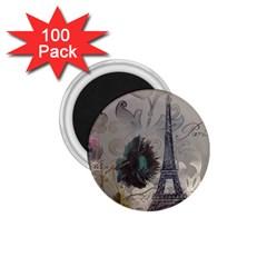 Floral Vintage Paris Eiffel Tower Art 1 75  Button Magnet (100 Pack) by chicelegantboutique