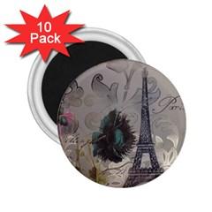 Floral Vintage Paris Eiffel Tower Art 2 25  Button Magnet (10 Pack) by chicelegantboutique