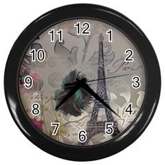 Floral Vintage Paris Eiffel Tower Art Wall Clock (black) by chicelegantboutique
