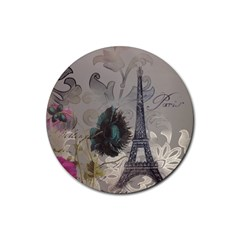 Floral Vintage Paris Eiffel Tower Art Drink Coaster (round) by chicelegantboutique