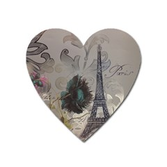 Floral Vintage Paris Eiffel Tower Art Magnet (heart) by chicelegantboutique