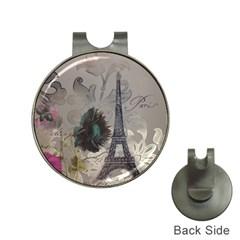Floral Vintage Paris Eiffel Tower Art Hat Clip With Golf Ball Marker by chicelegantboutique