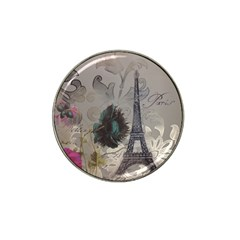 Floral Vintage Paris Eiffel Tower Art Golf Ball Marker 4 Pack (for Hat Clip) by chicelegantboutique