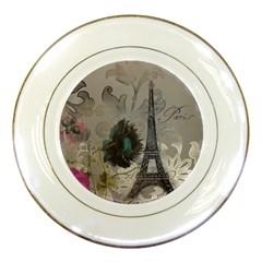 Floral Vintage Paris Eiffel Tower Art Porcelain Display Plate by chicelegantboutique