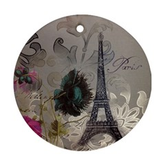 Floral Vintage Paris Eiffel Tower Art Round Ornament (two Sides) by chicelegantboutique