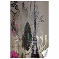 Floral Vintage Paris Eiffel Tower Art Canvas 24  X 36  (unframed) by chicelegantboutique