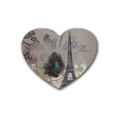 Floral Vintage Paris Eiffel Tower Art Drink Coasters (heart) by chicelegantboutique