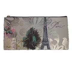 Floral Vintage Paris Eiffel Tower Art Pencil Case by chicelegantboutique