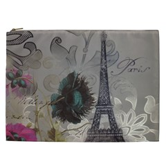 Floral Vintage Paris Eiffel Tower Art Cosmetic Bag (xxl) by chicelegantboutique