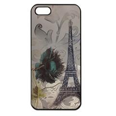 Floral Vintage Paris Eiffel Tower Art Apple Iphone 5 Seamless Case (black) by chicelegantboutique