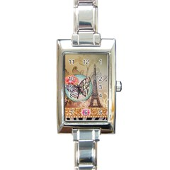 Fuschia Flowers Butterfly Eiffel Tower Vintage Paris Fashion Rectangular Italian Charm Watch by chicelegantboutique