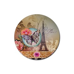 Fuschia Flowers Butterfly Eiffel Tower Vintage Paris Fashion Drink Coaster (round) by chicelegantboutique