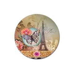 Fuschia Flowers Butterfly Eiffel Tower Vintage Paris Fashion Magnet 3  (round) by chicelegantboutique