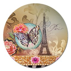 Fuschia Flowers Butterfly Eiffel Tower Vintage Paris Fashion Magnet 5  (round) by chicelegantboutique