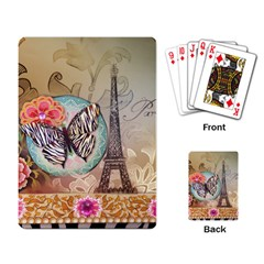 Fuschia Flowers Butterfly Eiffel Tower Vintage Paris Fashion Playing Cards Single Design by chicelegantboutique