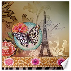 Fuschia Flowers Butterfly Eiffel Tower Vintage Paris Fashion Canvas 12  X 12  (unframed) by chicelegantboutique