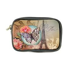 Fuschia Flowers Butterfly Eiffel Tower Vintage Paris Fashion Coin Purse by chicelegantboutique