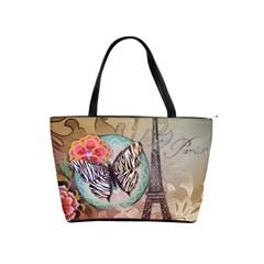Fuschia Flowers Butterfly Eiffel Tower Vintage Paris Fashion Large Shoulder Bag by chicelegantboutique