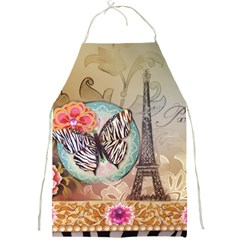 Fuschia Flowers Butterfly Eiffel Tower Vintage Paris Fashion Apron by chicelegantboutique